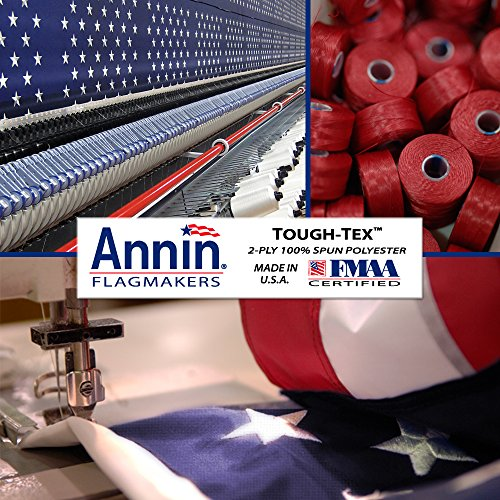 Annin Flagmakers Model 2710 American Flag Tough-Tex The Strongest, Longest Lasting, 3x5 ft, 100% Made in USA with Sewn Stripes, Embroidered Stars and Brass Grommets