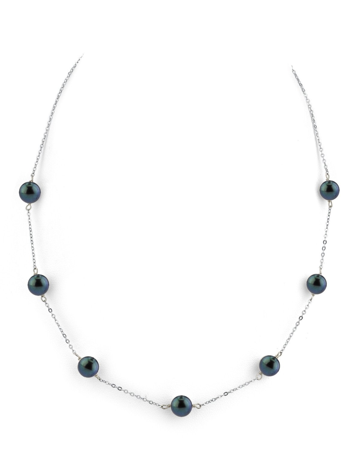 14K Gold 7.0-7.5mm Black Akoya Cultured Pearl Tincup Necklace