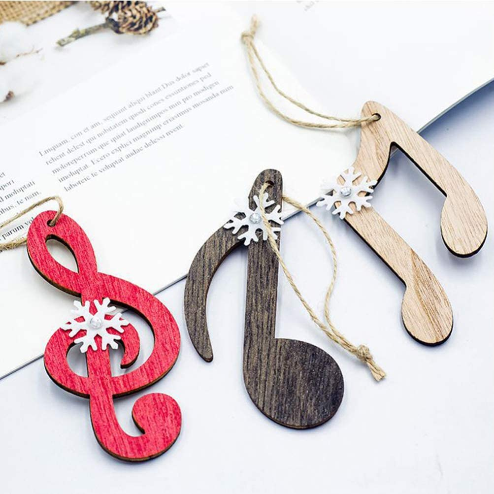 Amosfun Wooden Christmas Tree Hanging Ornaments Decorations Music Notes Shape Wooden Craft Ornament Hanging Pendant 12pcs
