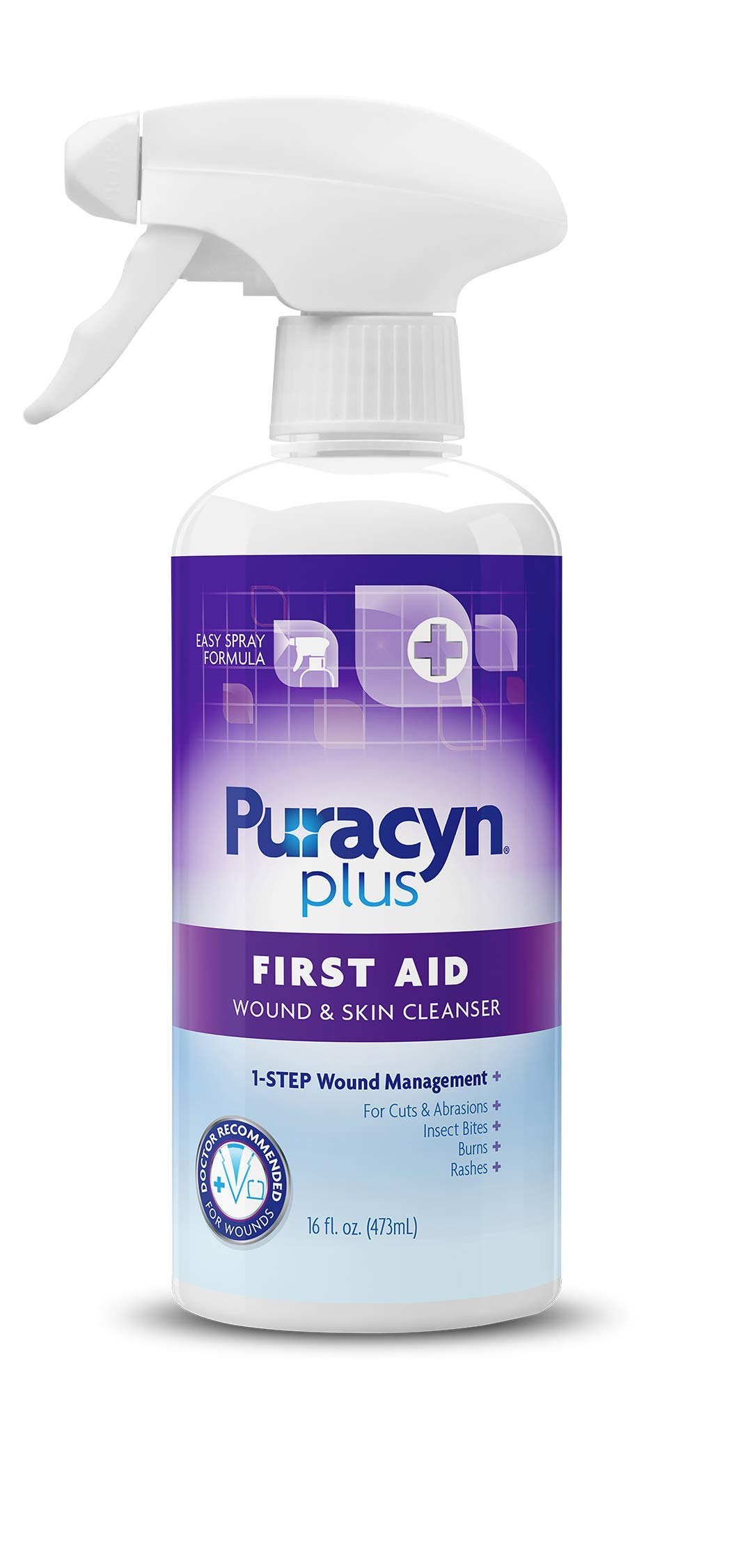 Puracyn Plus Wound and Skin Cleanser - Wound Care Spray for cuts, scrapes, minor sores, minor burns, and other skin irritations - 16-ounce by Puracyn OTC