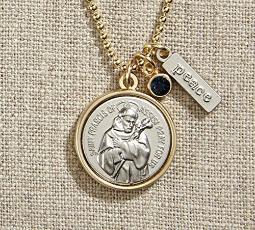 - AT001 Set of 3 Vintage Blessings St. Francis Necklace with Gold Chain