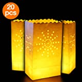 Go Luminary Bags | Special 20 Pcs Luminary Bags with Sunburst Design | Durable and Reusable Fire-Retardant Cotton Material | Superb for Wedding Halloween Birthday New Year or Other Party | White | 326