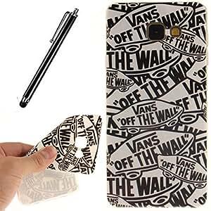 GeniusMALL 4 en 1 TPU Carcasa Funda para Samsung Galaxy A5 A5100 (2016) Suave Silicona Gel Cubierta Casa Estuche Cover Case Caso + Stylus universales ,Breve dibujos animados