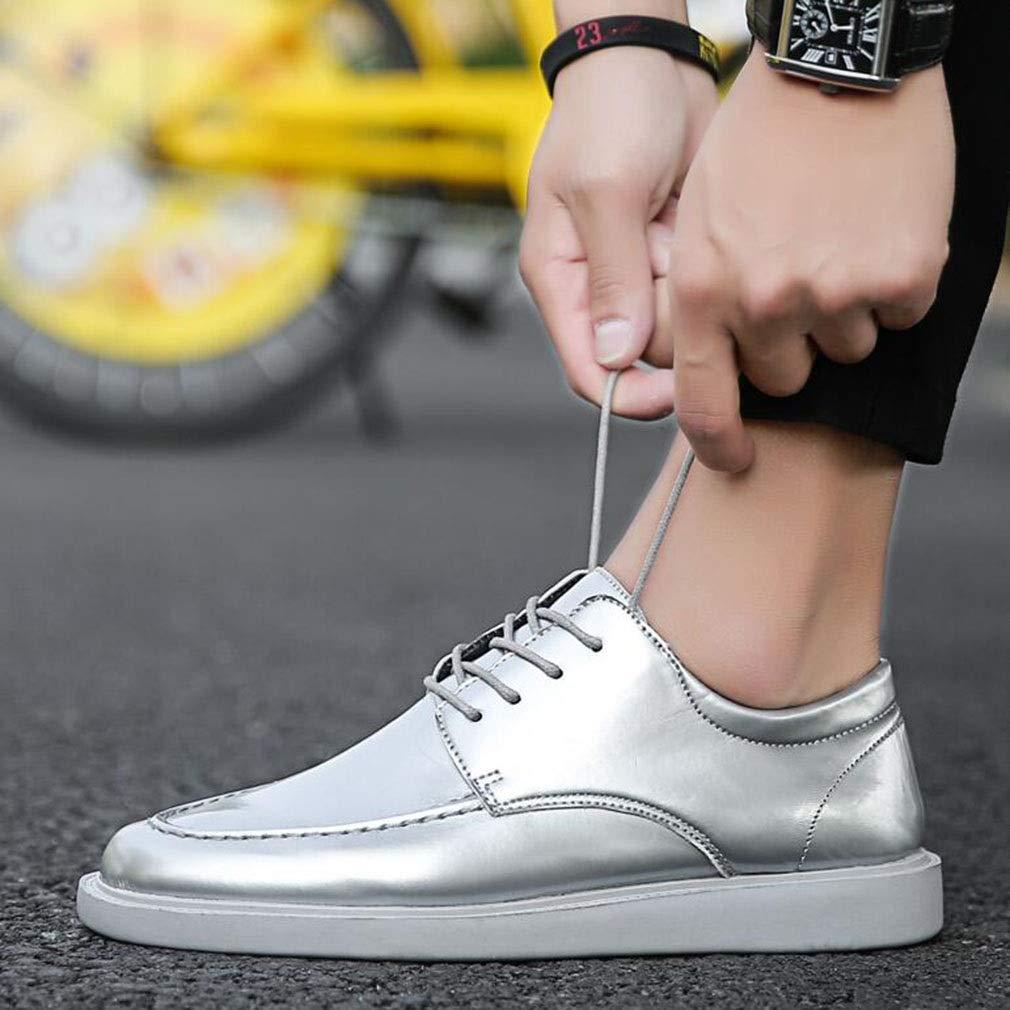 YCSD Mens Oxfords Schuhe Glänzend PU Für Männer Casual Lace-Up Turnschuhe, Frühling Und Sommer (Farbe   Silber, größe   EU43 UK9 CN44)