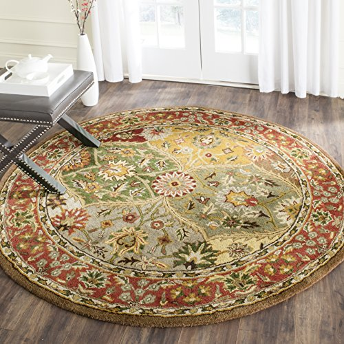 Safavieh Heritage Collection HG111A Handcrafted Traditional Oriental Multicolored Wool Round Area Rug (8' Diameter) 8' Round Wool Rug