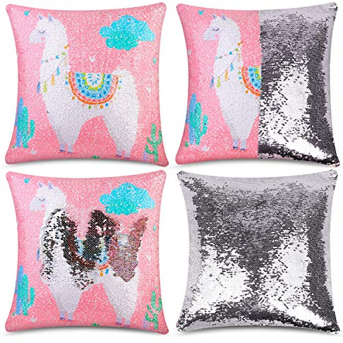 (DEEECREEK Sequin Pillow Cover, Mermaid Pillows Case Funny Sparkle Flip Magic Reversible Sequin Pillow Cover Decorative Throw Cushion Case for Couch Home (Pink Alpaca))