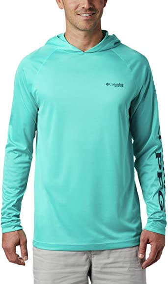 UV Sun Protection Columbia Mens PFG Terminal Tackle Heather Hoodie Breathable