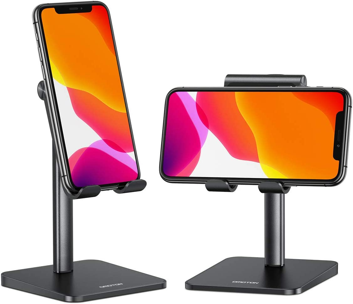 Cell Phone Holder for Desk, OMOTON Cell Phone Stand Dock Adjustable Angle (5-45°) for Office, Kitchen, Movies, Compatible with iPhone 11 Pro/Xs Max/Se2 and All Smartphones (3.5-7.0 Inch), Black