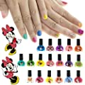 Minnie Mouse Kids Washable Super Sparkly Peel-Off Nail Polish Deluxe Set for Girls, 18 Colors