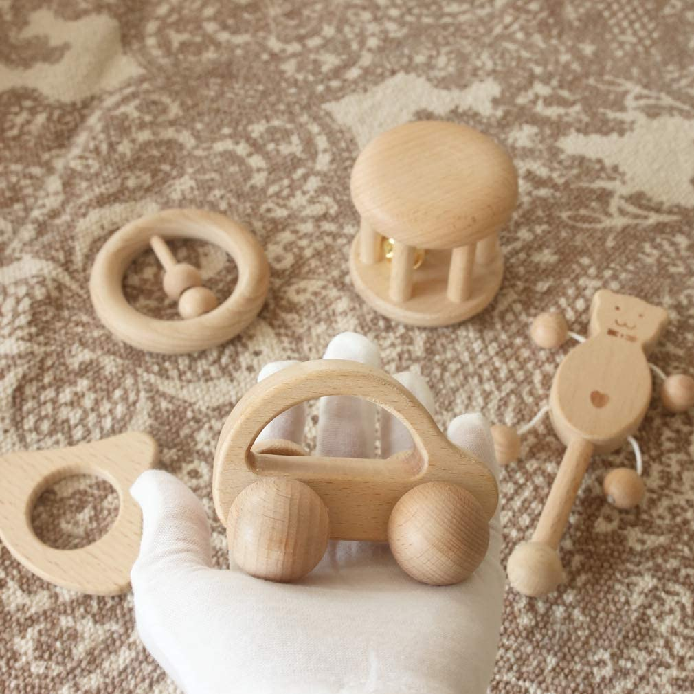 Mamimami Home B/éb/é Jouet Beech Bois Teether Rattle Montessori Jouer Gym B/éb/é Berceau Jouet Activit/é sensorielle Teether Rattle