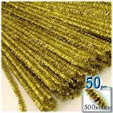 The Crafts Outlet Chenille Sparkly Stems, Pipe Cleaner, 20-in (50-cm), 50-pc, Light Gold