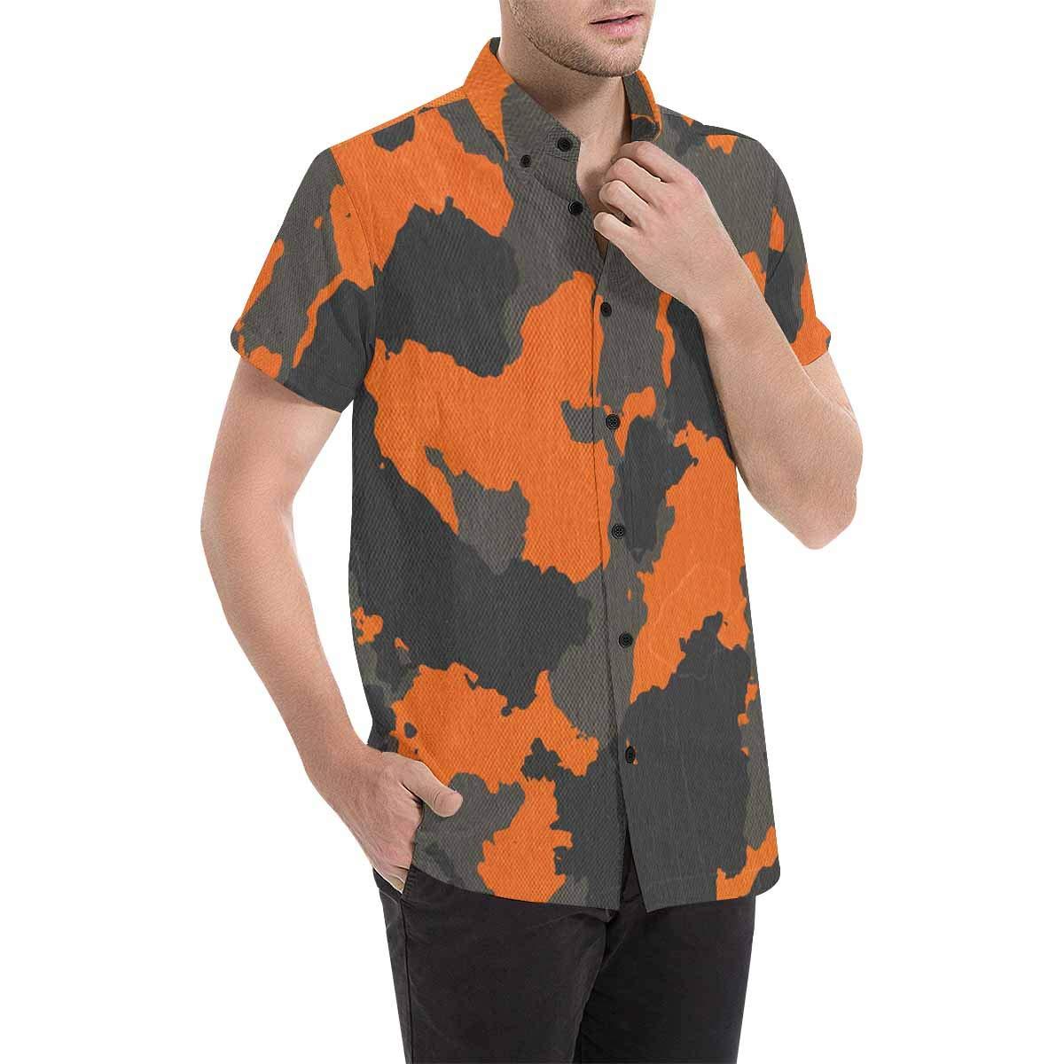 InterestPrint Men Regular Fit Old Pictorial Streets of Greece Print Casual Button Down Short Sleeve Shirt S-5XL