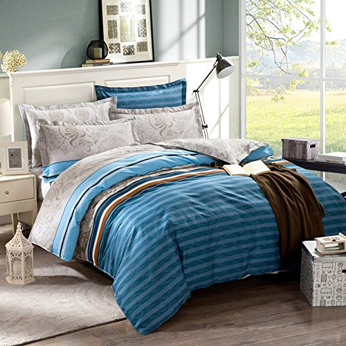 TOP SHOP Home FTSUCQ North America Style Linen Bed Sheets Quilt Covers Bed Mattress Bedding Four-PCS Sets,size-3 (Kidsline Top Sheet)