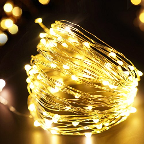 Bright Zeal 33' FT Warm White LED Plug In String Lights Christmas Lights (Silvery Wire, 6hr Timer, AC ADAPTER) - Christmas Tree Lights - String Lights for Bedroom - Plug In Hanging Light Fairy Lights ()