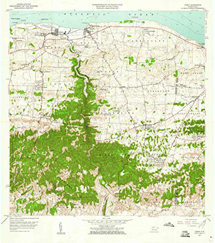 YellowMaps Camuy PR topo map, 1:20000 Scale, 7.5 X 7.5 Minute, Historical, 1957, Updated 1960, 32.3 x 28.6 in - Polypropylene ()