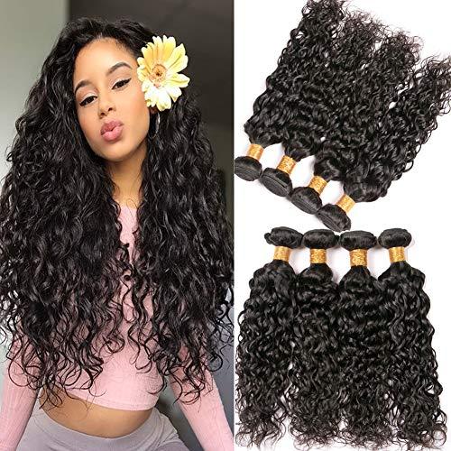 8a Brazilian Virgin Hair Water Wave Wet And Wavy Human Hair 20 22 24 26 Inch 4 Bundles 100 Percent Unprocessed Virgin Brazilian Weave Extensions for Braiding (Wet And Wavy Braiding Hair For Sale)