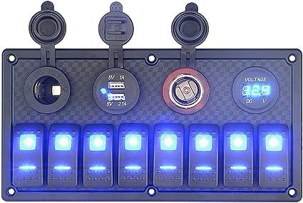 UK Car Boat 5 Gang LED Switch Panel 12V 24V USB Toggle Circuit Breaker Voltmeter