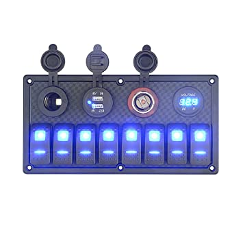 8 Gang LED Wippschalter Panel Auto Boot Marine Voltmeter 2 USB Ladegerät Zubehör