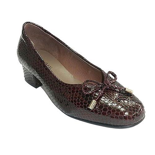 Zapato Mujer Tipo Manoletinas Charol simula Piel de Serpiente Roldán en Burdeos: Amazon.es: Zapatos y complementos