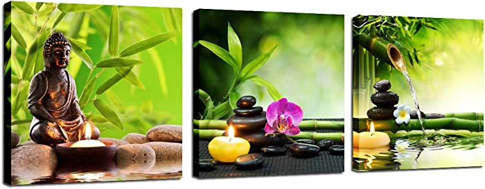 Zen Canvas Wall Art Print - Spa Decor Buddha Poster Green Bamboo Stone Orchid Kitchen Bedroom Painting Home Office Decorations for Living Room 3 Panel Picture Framed Modern Artwork Ready to Hang