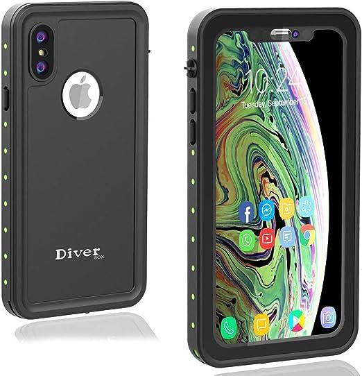 Diverbox Coque étanche compatible avec iPhone Xs Max, coque de téléphone durable avec sangle, chargement sans fil, pour activités sous-marines, ...