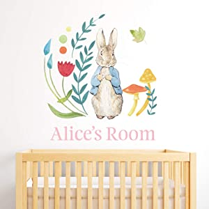 Peter Rabbit Personalised Wall Sticker PB003 Kids Wall Decal Vinyl Sticker Bedroom Mural (120cm Width x 120cm Height)