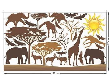Glastattoo Glasdekor Set Farbig Fr Wohnzimmer Afrika Giraffen Elefanten Tiere 100x57cm