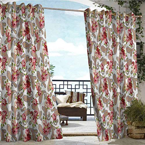 crabee Outdoor- Free Standing Outdoor Privacy Curtain Country,Paisley Roses Nosegay Theme,W72 xL108 Outdoor Patio Curtains Waterproof with Grommets