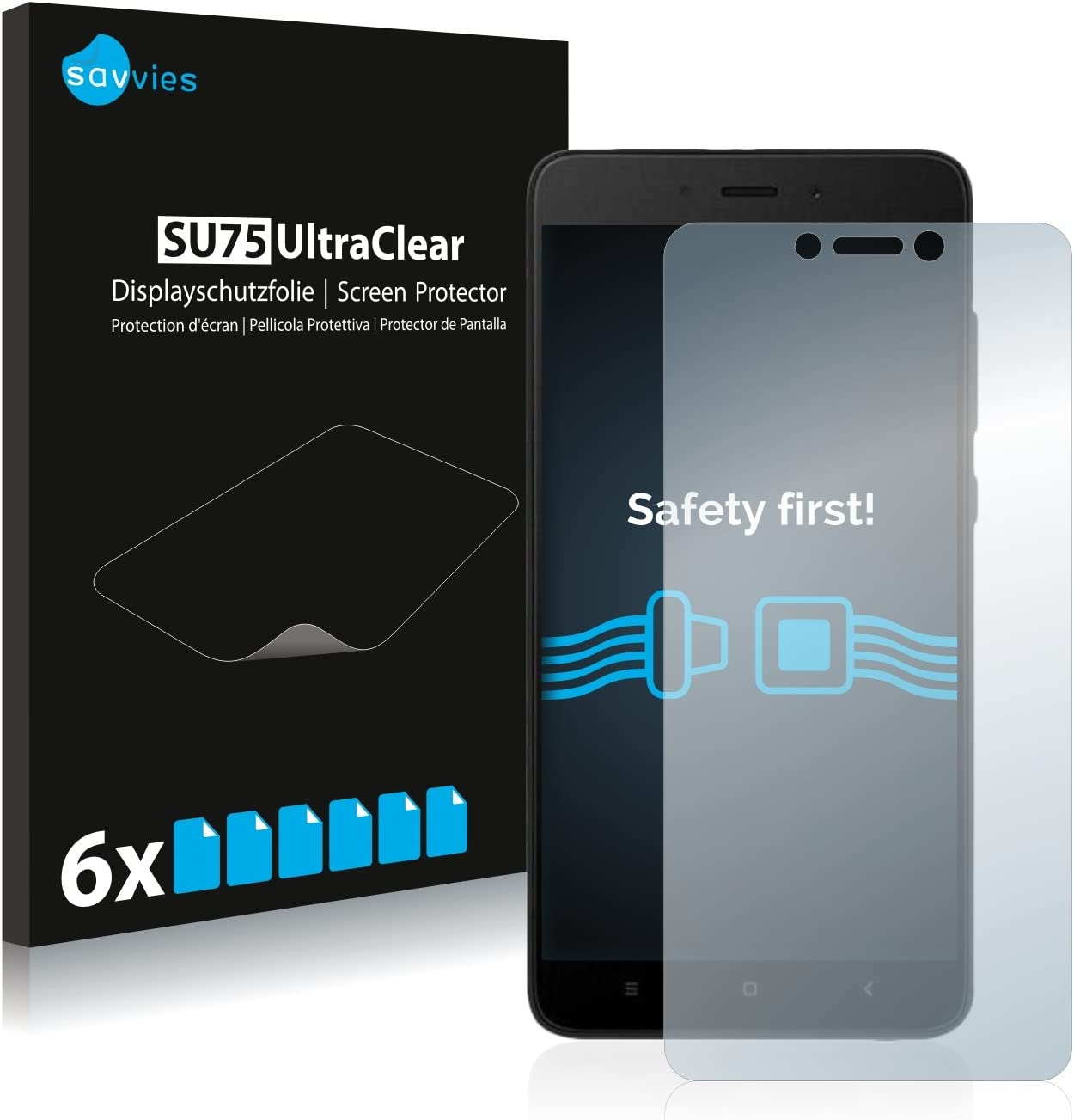 savvies Protector Pantalla Compatible con Xiaomi Redmi Note 4X (6 Unidades) Pelicula Ultra Transparente: Amazon.es: Electrónica