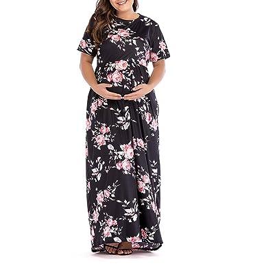 d59c5f514e608 EDTO Women's Pregnancy Dresses, Short Sleeve Floral Dress Maternity Clothes  Black