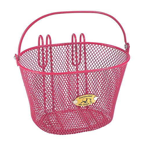 Nantucket Bike Basket Co Kid's Surfside Mesh Wire Basket, Pink