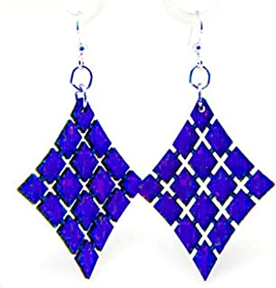 product image for Green Tree Jewelry Royal Blue Floating Diamond Wooden Lasercut Earrings #1024