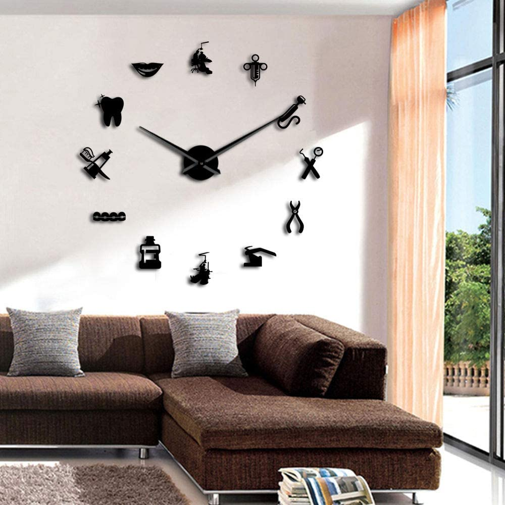 The Geeky Days Dentist Sign Giant DIY Large Wall Clock with Mirror Effect Wall Art Home Décor Frameless Big Time Clock Watch(Black)