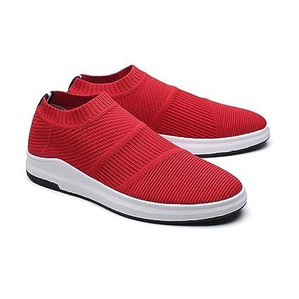 YIXINY Schuhe Herrenschuhe Lässig Wild Laufschuhe Turnschuhe Atmungsaktiv Nicht Gebunden ( Farbe : Rot , größe : EU40/UK7/CN41 )