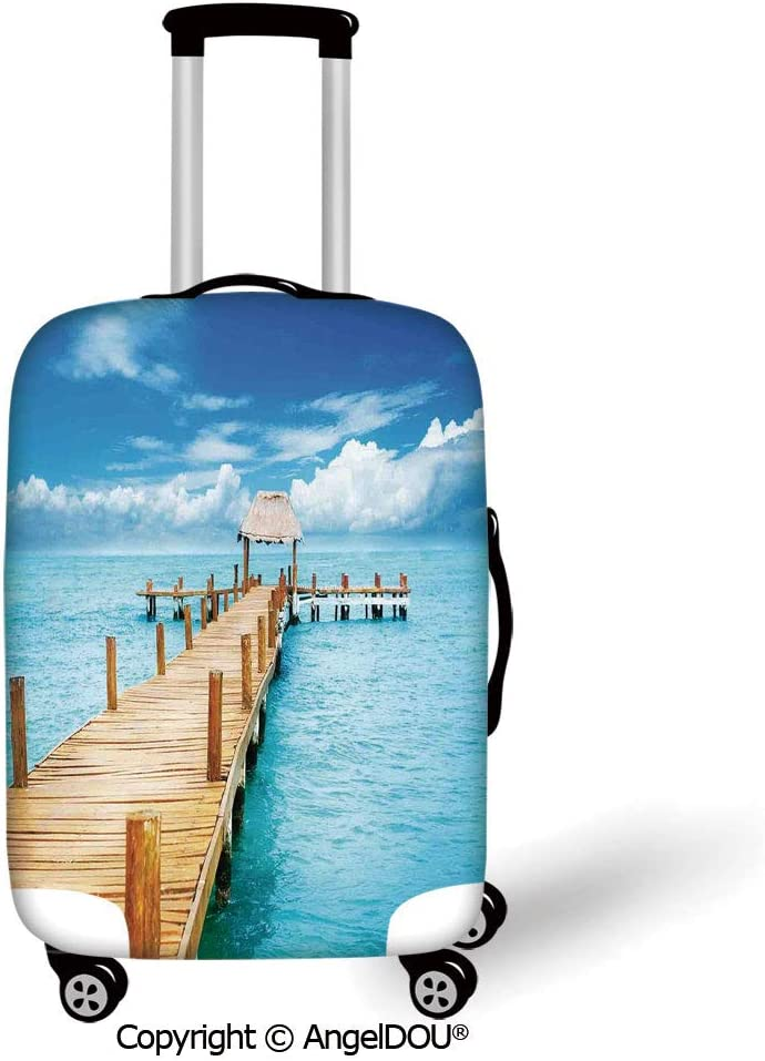 AngelDOU Trolley Trunk Dust Case Cover Travel Accessories Ocean Animal Decor Marine Traffic with Whale Sailboat and Fish with Cloud and Waves Print Purple Elastic Luggage Dust Cover.