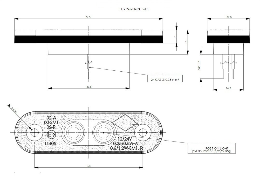 4 x 2 SMD LED Wei/ß Begrenzungsleuchte Umrissleuchte mit Gummi-Pad 12V 24V E-Pr/üfzeichen Positionsleuchte Auto LKW PKW Lampe Leuchte Licht Universal