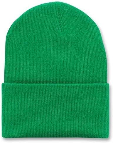 THS 12 Inch Long Cuffed Knit Beanie Ski Cap One Size, Sky Blue