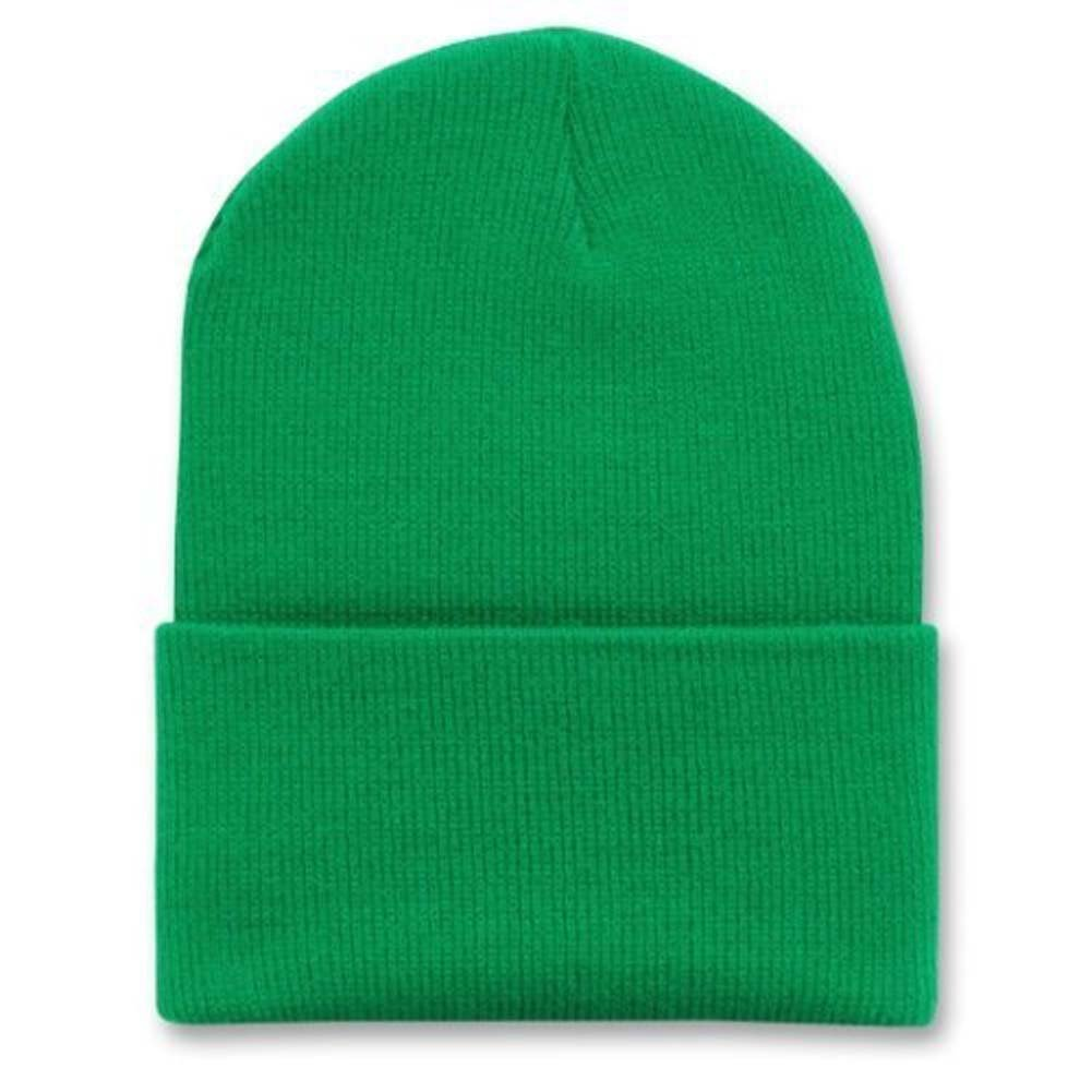 Decky 12 Inch Long Cuffed Knit Beanie Cap (Many Colors Available) Charcoal Grey)