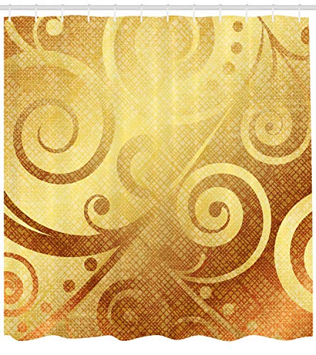 Ambesonne Modern Decor Shower Curtain, Vector Gold Canvas Design Floral Swirls Leaves Decorative Image, Fabric Bathroom Decor Set with Hooks, 70 Inches, Yellow Gold