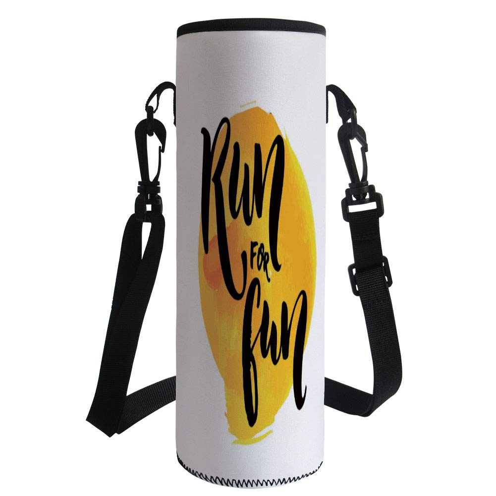 iPrint Water Bottle Sleeve Neoprene Bottle Cover,Inspirational,Run for Fun Calligraphy Yellow Brushstrokes Backdrop Lifestyle Image,Black White Yellow,Fit for Most of Water Bottles