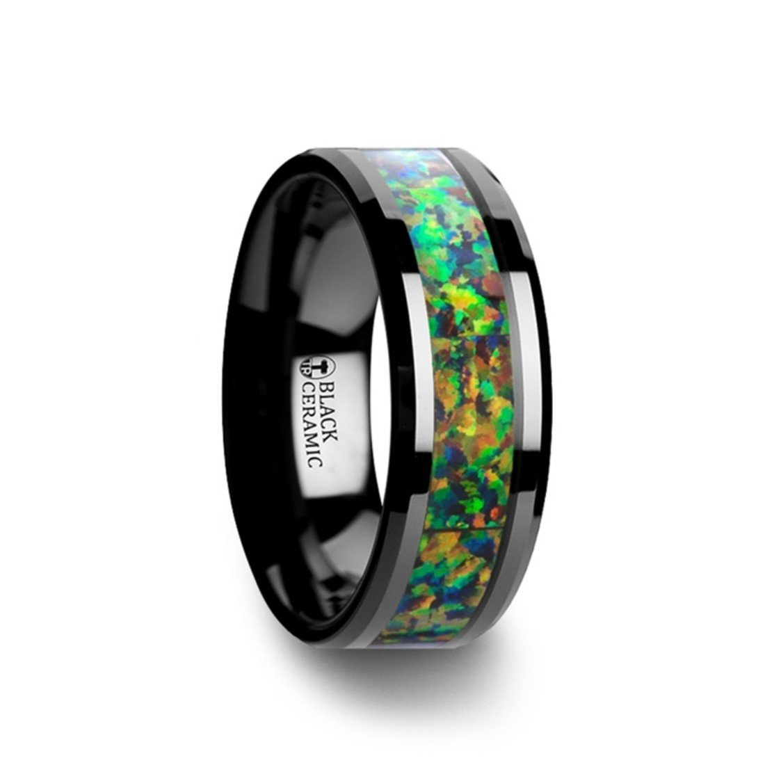 Thorsten Galactic Black Ceramic Wedding Band with Beveled Edges and Blue /& Orange Opal Inlay 8mm Wide from Roy Rose Jewelry