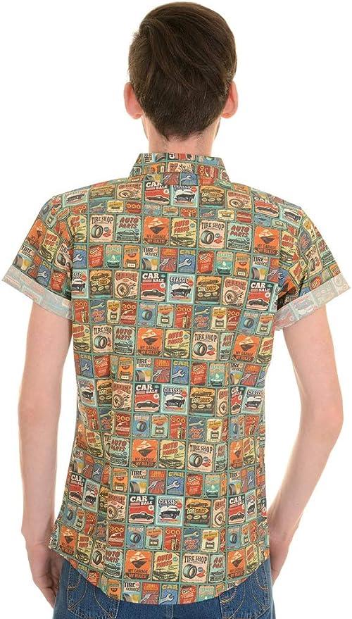 Run & Fly Hombre Años 50 Años 60 Vintage Coche Garaje Camisa Manga Corta: Amazon.es: Ropa y accesorios