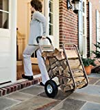 Indoor Outdoor Rolling Firewood Log Cart, Wood Rack and Carrier, with Pneumatic Wheels 20W x 22D x 42H For Sale