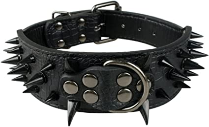 """Long Sharp Spiked Cool Dog Collar For Large Dogs Pitbull Mastiff 2.0/"""" Wide Black"""