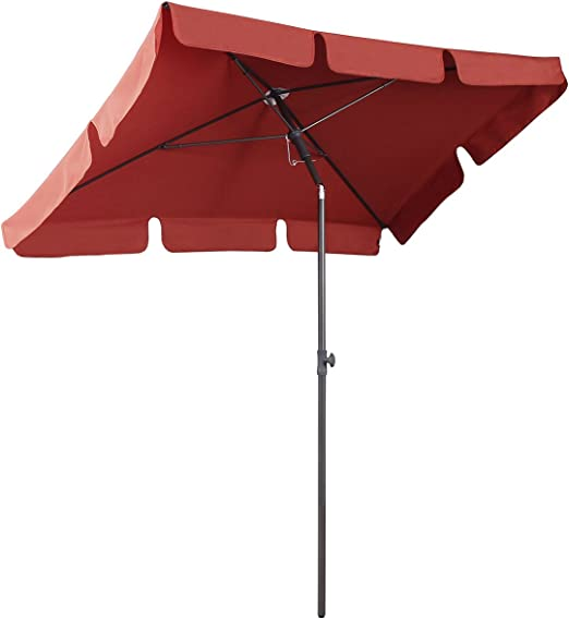 Sekey® Sombrilla 200 x 125cm Parasole para Terraza Jardín Playa Balcón Piscina Patio , Protector Solar UV50+ , Color Rojo, Rectángulo: Amazon.es: Jardín