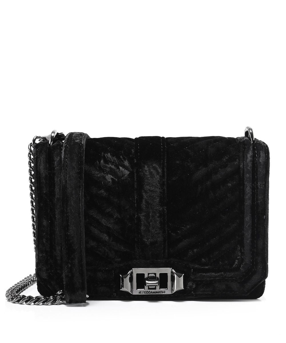 Rebecca Minkoff Women's Chevron Quilted Small Love Cross Body Bag, Black, One Size