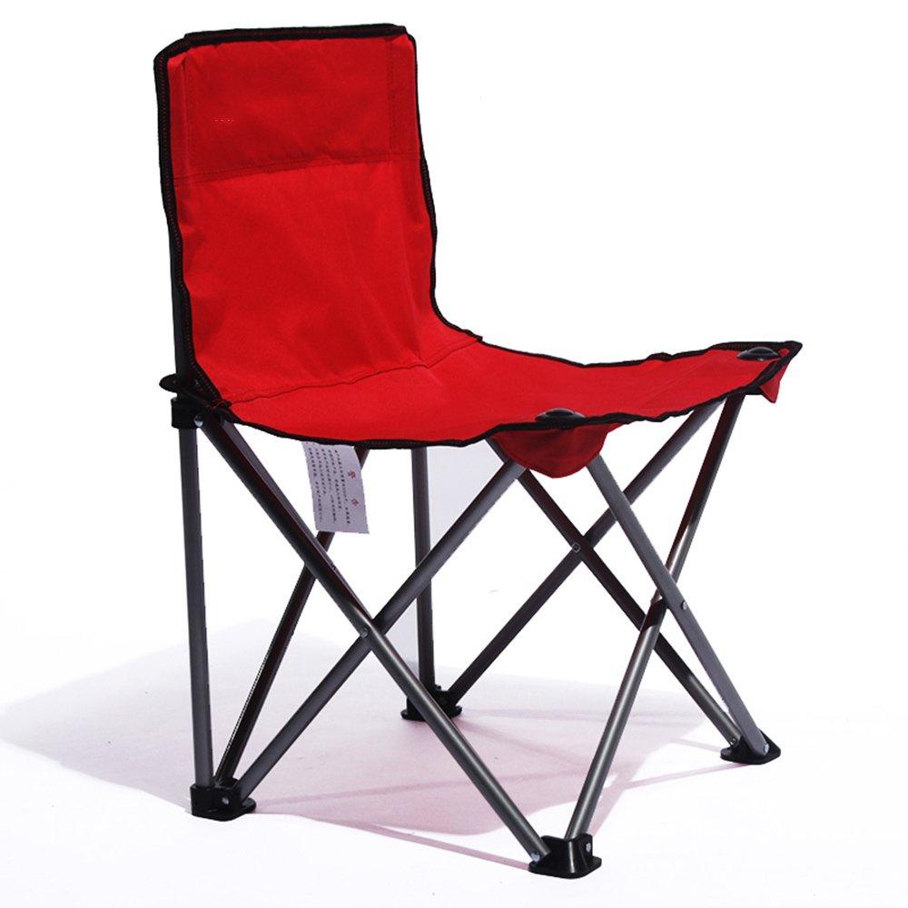 QFFL ポータブル創造的な実用的な折りたたみ椅子/快適な単純な背もたれの椅子/多機能屋外釣りカジュアル折りたたみ椅子 アウトドアスツール (色 : Red) B07FHZ2Y6P  Red