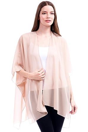 cf85a9b741 Modern Kiwi Solid Sheer Chiffon Kimono Cardigan Beige One Size at ...