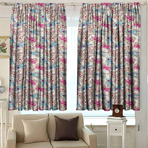 AFGG Rod Pocket Blackout Drapes Baby Cute Heroes Rabbits in Vivid Girls Kids Bunnies Spirals Stars Fun Theme Great for Living Rooms & Bedrooms 55 W x 63 L Inches Pale Blue Hot Pink Cream