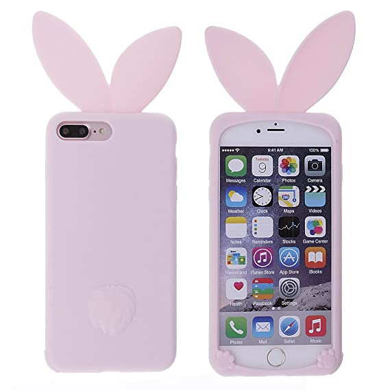 release date: 24048 bcb60 Mmrm Soft Silicone Cartoon Rabbit Ear Phone Case For iPhone 7plus (Pink)
